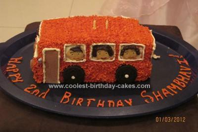Homemade Wheels on the Bus Cake