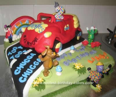 Terrific Coolest Wiggles Big Red Car Birthday Cake Personalised Birthday Cards Veneteletsinfo