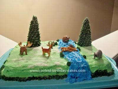Homemade Wilderness Theme Birthday Cake