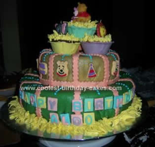 Homemade Winnie the Pooh and Friends Birthday Cake