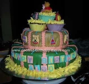 Homemade Winnie the Pooh and Friends Birthday Cake