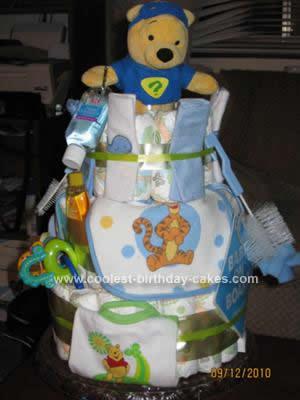 Homemade Winnie the Pooh Diaper Cake