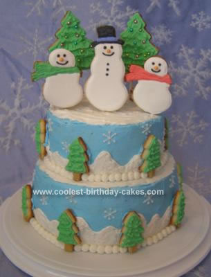 Homemade Winter Wonderland Cake