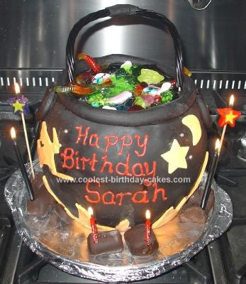 Homemade  Witch Cauldron Birthday Cake