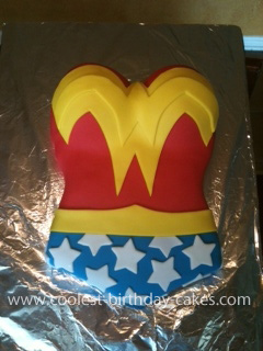 Homemade Wonder Woman Birthday Cake