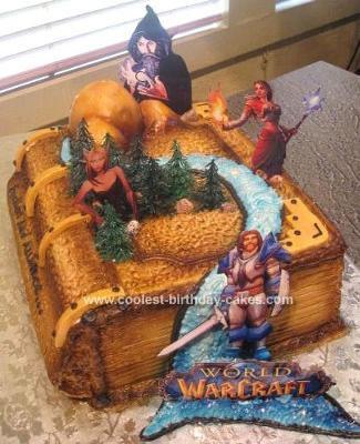 Homemade World of Warcraft Game Book Cake