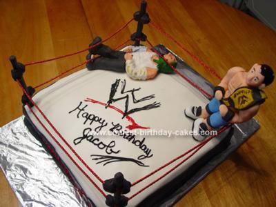 Homemade WWE Wrestling Birthday Cake