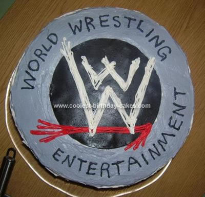 Homemade WWE Logo Cake