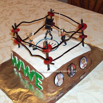 Homemade WWE Wrestling Ring Cake