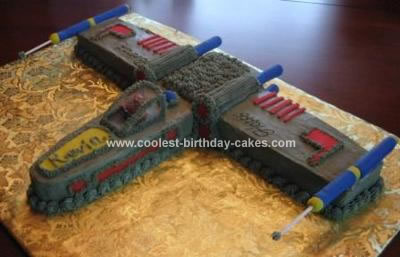 Homemade X Wing Fighter Cake