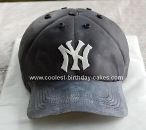 Homemade Yankees Baseball Cap Birthday Cake