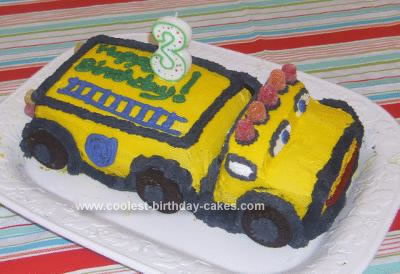 Homemade Yellow Fire Truck 3rd Birthday Cake