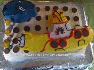 Homemade Yellow Submarine Birthday Cake
