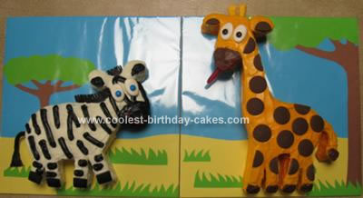 Homemade Zebra and Giraffe Cakes