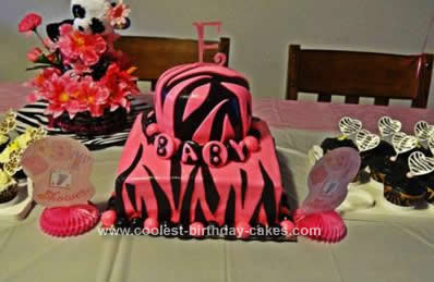Homemade Zebra Pattern Baby Shower Cake