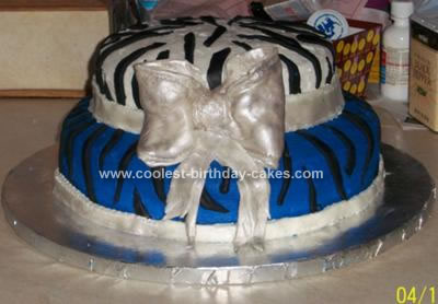 Homemade Zebra Print Birthday Cake