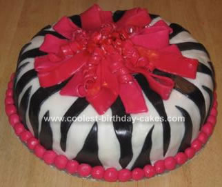 Homemade Zebra Print Gift Wrap Cake