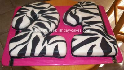 Homemade Zebra Striped Birthday Cake
