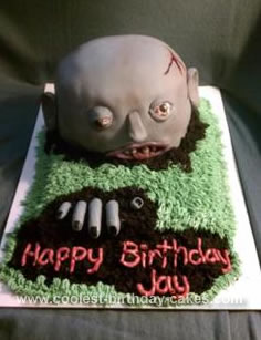 Incredible Ghoulish Homemade Zombie Birthday Cake Personalised Birthday Cards Veneteletsinfo
