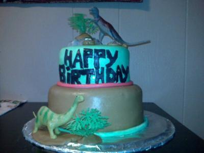 2 Tier Homemade Dinosaur Cake