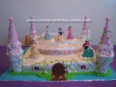 Amazing Disney Princesses Castle Cake Personalised Birthday Cards Petedlily Jamesorg