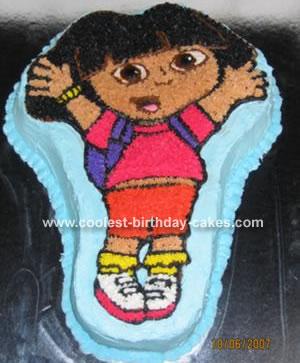 Homemade Dora Birthday Cake With Wilton Pan