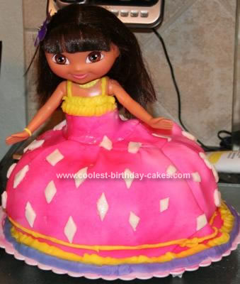 Homemade Dora Saves the Crystal Kingdom Doll Cake
