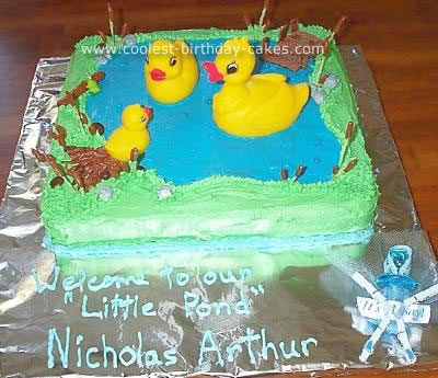 Duckies in a Pond Baby Shower Cake