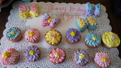 Magnificent Flowers Butterflies Cupcakes Personalised Birthday Cards Beptaeletsinfo