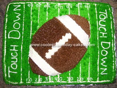This Football Cake Was Made For A Nine Year Old Little Boy Whos Favorite Sport Is