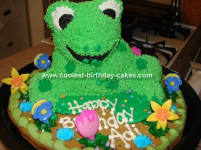 I Made This Frog Cake From Wiltons Teddy Bear Pan We Were Having A Webkinz Party And Was Making It To Look Like The Birthday Girls Favorite