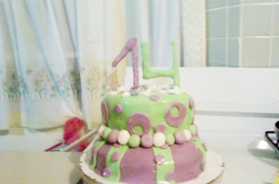 Awe Inspiring Homemade 14Th Birthday Cake Personalised Birthday Cards Akebfashionlily Jamesorg