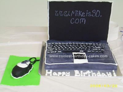 Fantastic Homemade Laptop Cake Funny Birthday Cards Online Inifofree Goldxyz