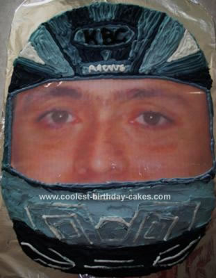 Homemade Motorcycle Helmet Cake