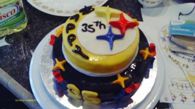 Pleasing Homemade Pittsburgh Steelers Cake Funny Birthday Cards Online Fluifree Goldxyz