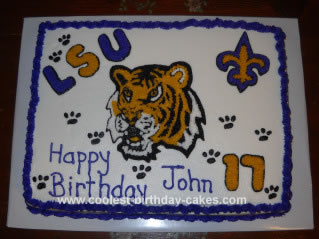 Homemade LSU Tigers Birthday Cake
