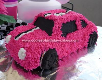 Pink Race Car Cake