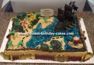 Astonishing Pirate Treasure Map Cake Funny Birthday Cards Online Aeocydamsfinfo