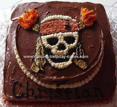 Fine Cool Homemade Pirate Skull Cake Funny Birthday Cards Online Aeocydamsfinfo