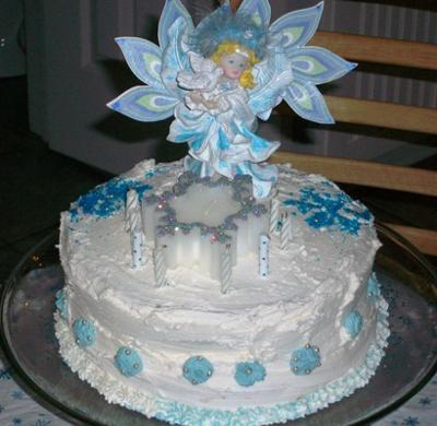 Snow Fairy Winter Birthday Cake