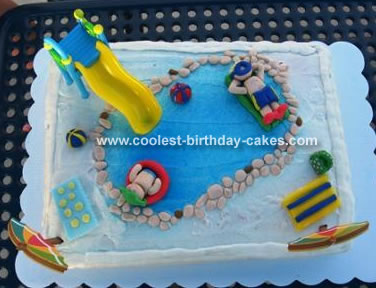 Incredible Swimming Pool Cake Personalised Birthday Cards Vishlily Jamesorg