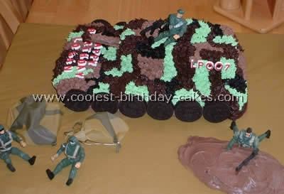 I Used A 9x13 Glass Pan To Make The Bottom Layer And Then Loaf Top Of This Army Cake Also Made Cupcakes