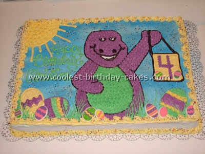 Terrific Coolest Barney The Dinosaur Cakes And Barney Cake Designs Personalised Birthday Cards Cominlily Jamesorg