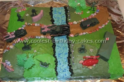 Stupendous Coolest Homemade Army Scene Cakes Personalised Birthday Cards Paralily Jamesorg