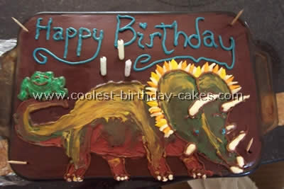 My Two Year Old Twins Are Really Into Dinosaurs Right Now So We Made A Dinosaur Cake For Fun This Is Basic Yellow With Thick Chocolate Frosting