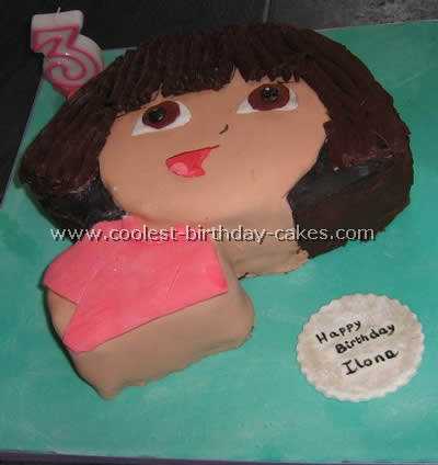 Cute Homemade Dora the Explorer Birthday Cake and Star Cupcakes