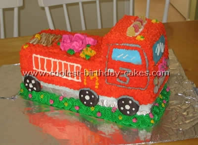 I Made This Fire Truck Cake For My Nieces 3rd Birthday She Wanted An Orange Her Wish Is Command So Set Out To Do Just That