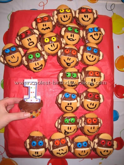 Coolest Monkey Cupcakes - Web's Largest Homemade Birthday Cake Photo Gallery