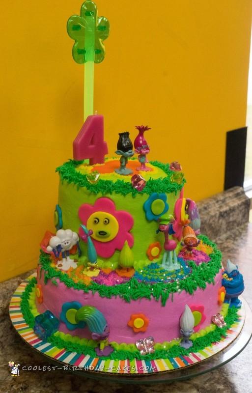 Remarkable Fun Neon Trolls Birthday Cake Birthday Cards Printable Riciscafe Filternl