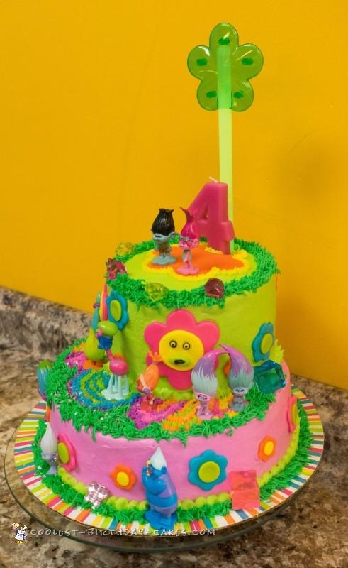 Surprising Fun Neon Trolls Birthday Cake Birthday Cards Printable Riciscafe Filternl